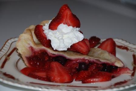 Three Berry Rhubarb Pie